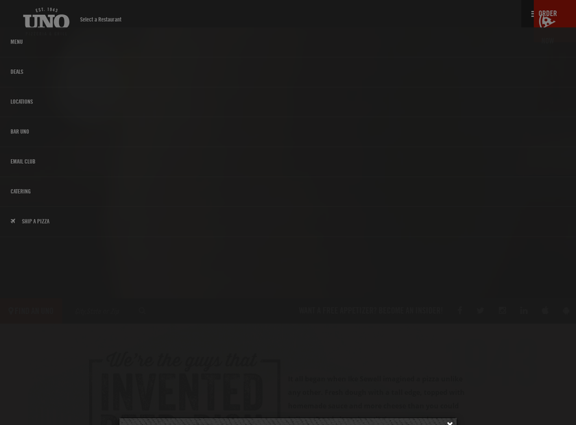 Uno Restaurant Holdings Corporation homepage screenshot