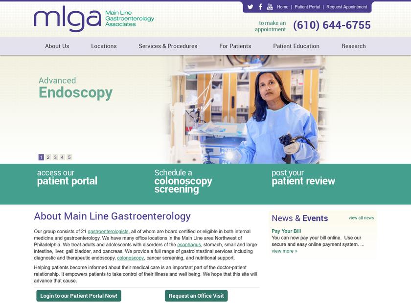 Main Line Gastroenterology Associates P.C homepage screenshot