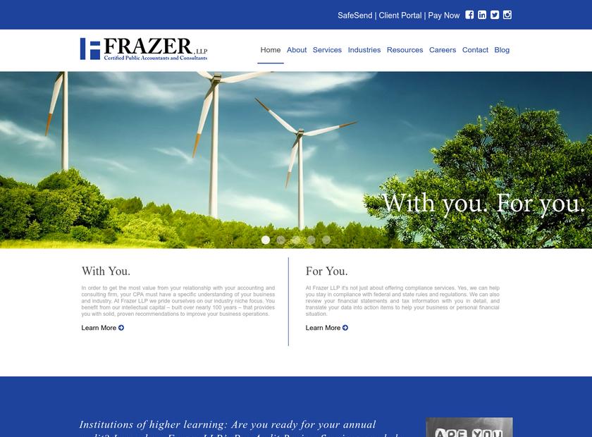 Frazer LLP homepage screenshot