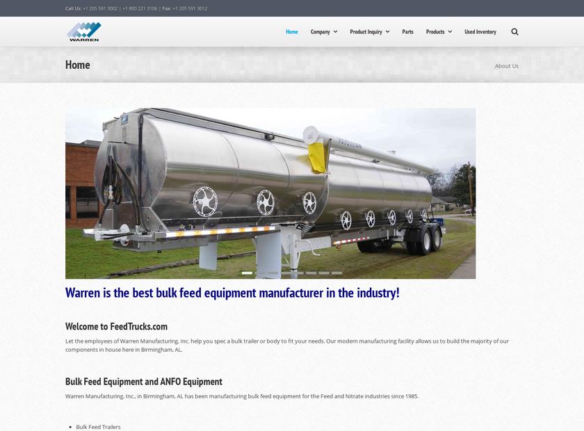 Warren Manufacturing Inc homepage screenshot