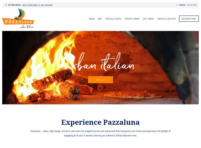 Pazzaluna homepage screenshot