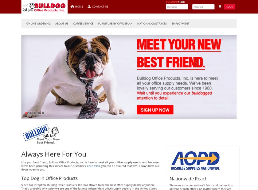 Bulldog Office Products Inc homepage screenshot