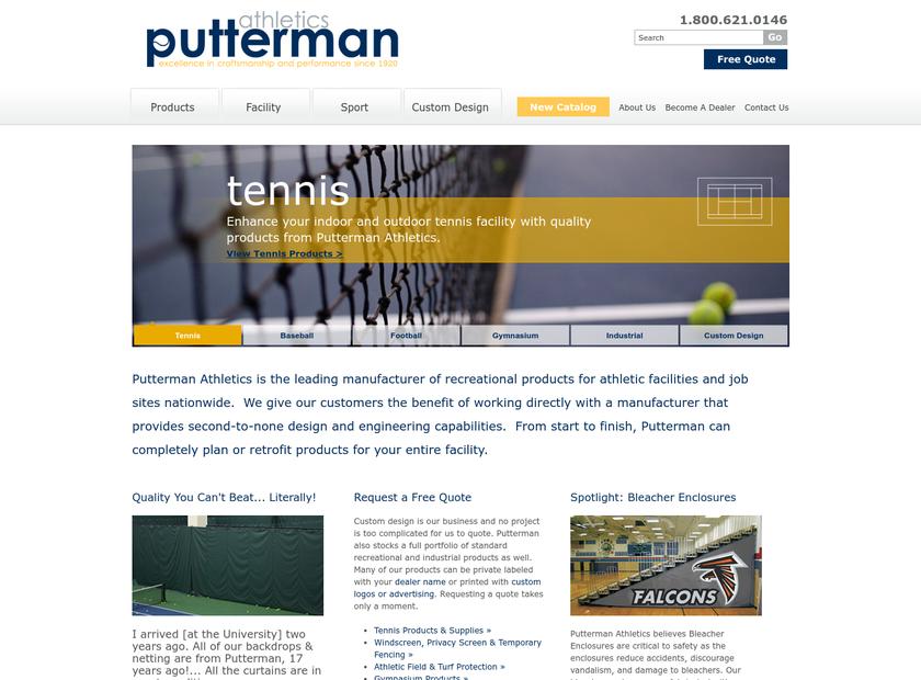 Putterman Athletics homepage screenshot