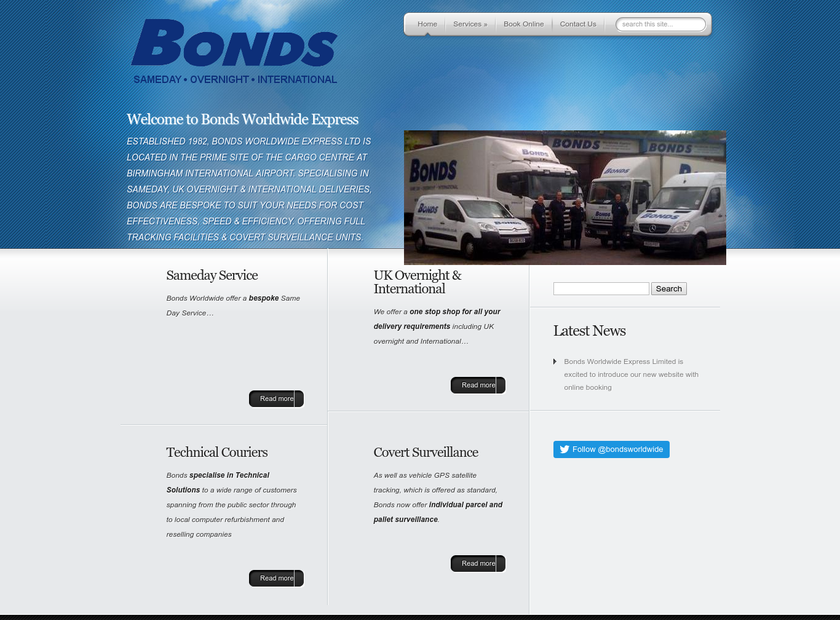 Bonds Worldwide Express Ltd homepage screenshot