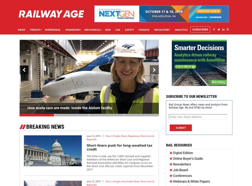 Railway Age homepage screenshot