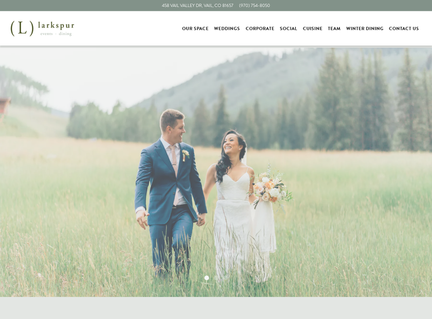 Larkspur Restaurant homepage screenshot