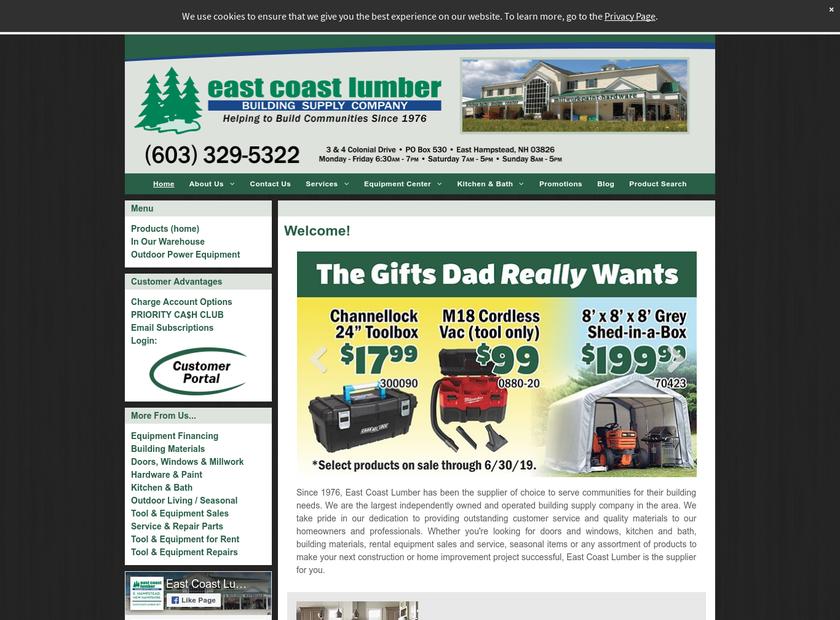 East Coast Lumber homepage screenshot