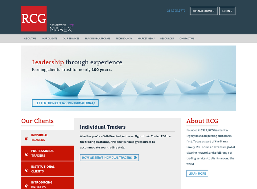Rosenthal Collins Group LLC homepage screenshot