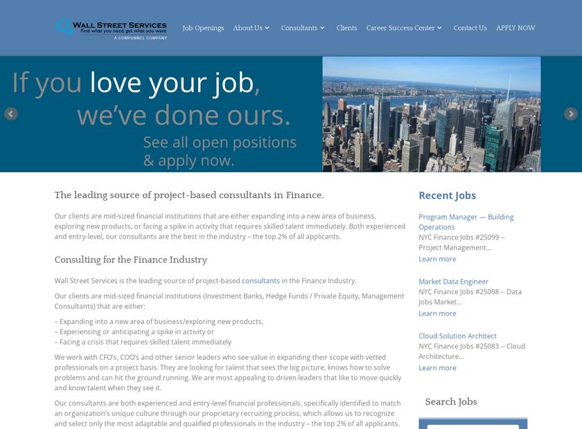 Wall Street Services Inc homepage screenshot