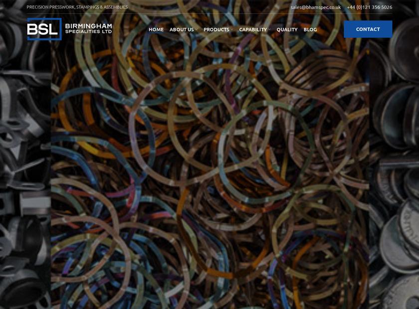 Birmingham Specialities Limited homepage screenshot