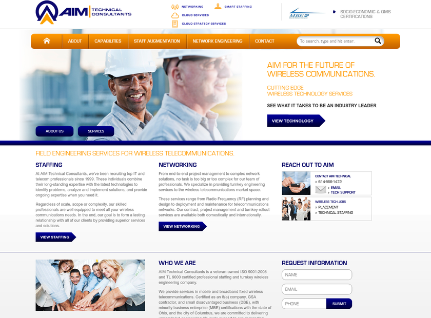 AIM Technical Consultants Inc homepage screenshot