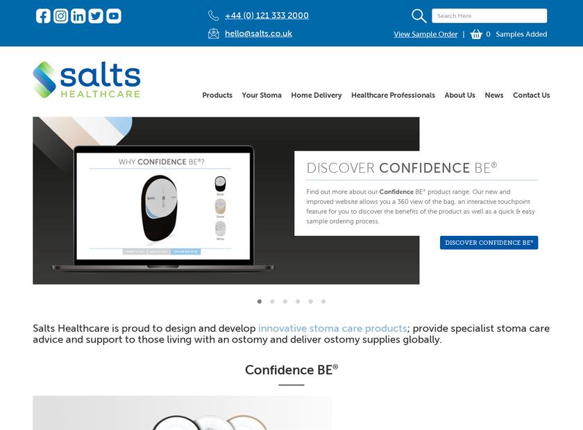 Salts Healthcare Limited homepage screenshot