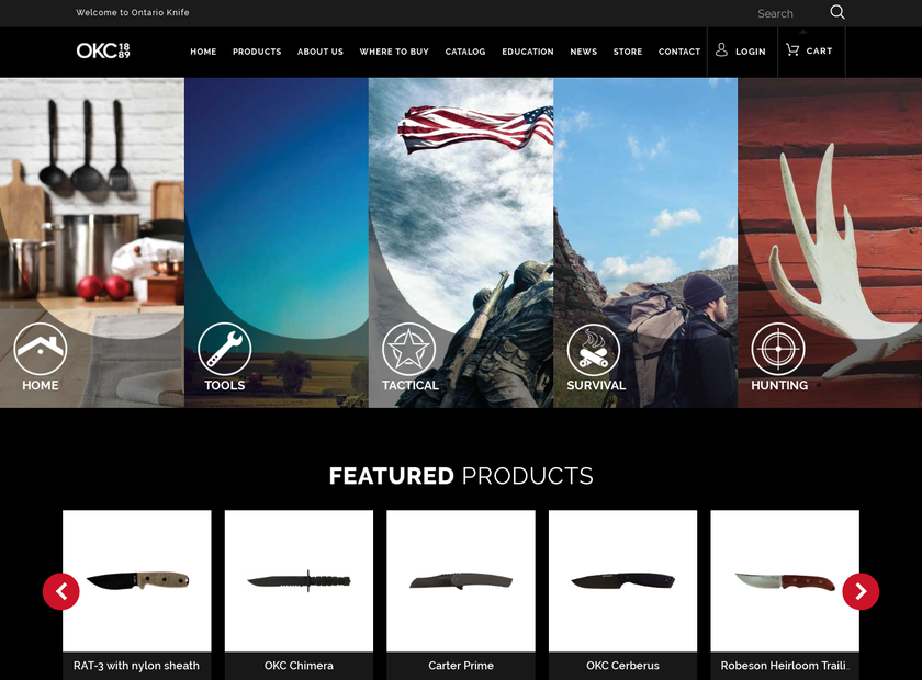 Ontario Knife Company homepage screenshot