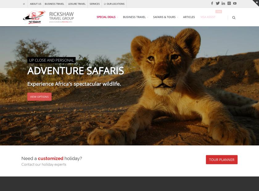 RICKSHAW TRAVELS Ltd homepage screenshot