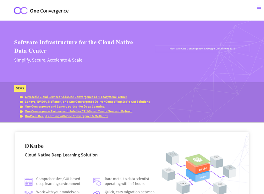 One Convergence Inc homepage screenshot
