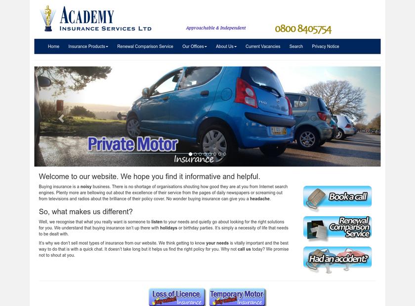 Academy Insurance Services Ltd homepage screenshot