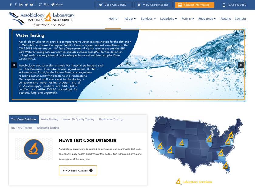 Aerobiology Laboratory Associates Inc homepage screenshot