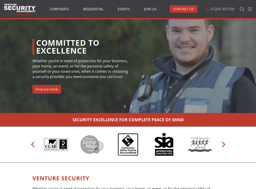 Venture Security Management Ltd homepage screenshot