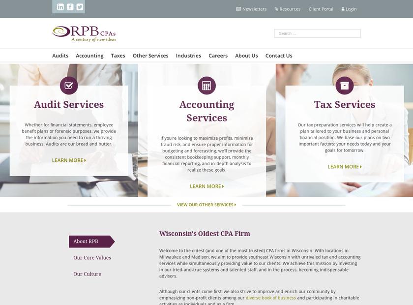 Reilly , Penner & Benton , LLP homepage screenshot