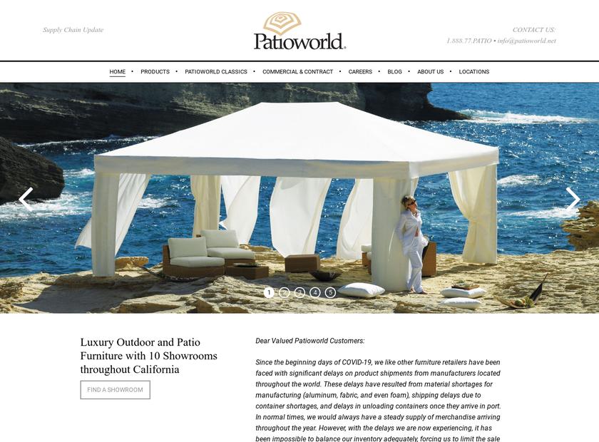 Patioworld homepage screenshot