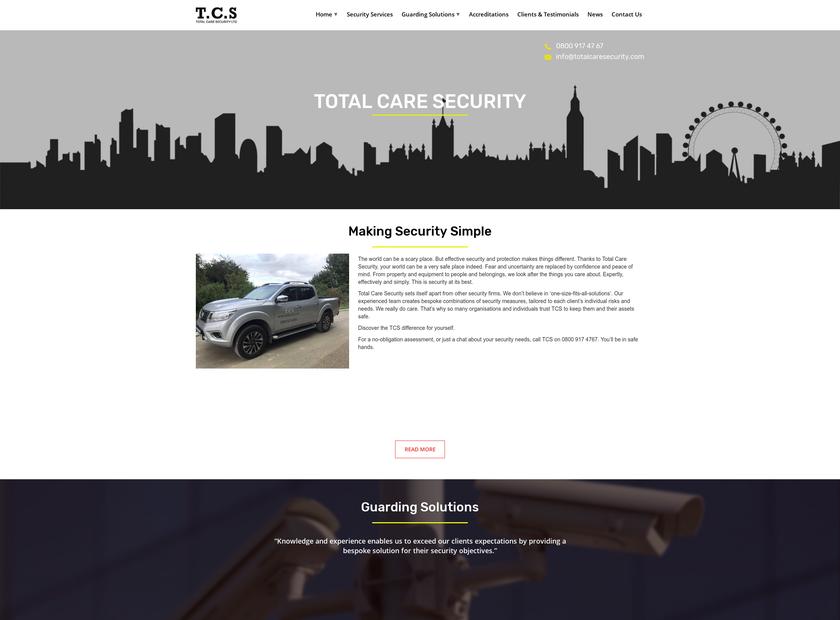 Total Care Security Ltd homepage screenshot
