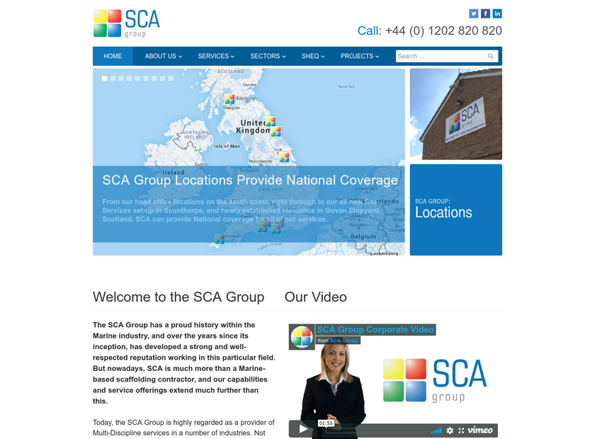 SCA Group Limited homepage screenshot