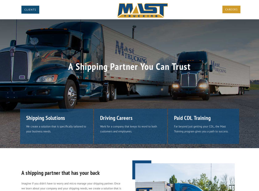 Mast Trucking Inc homepage screenshot