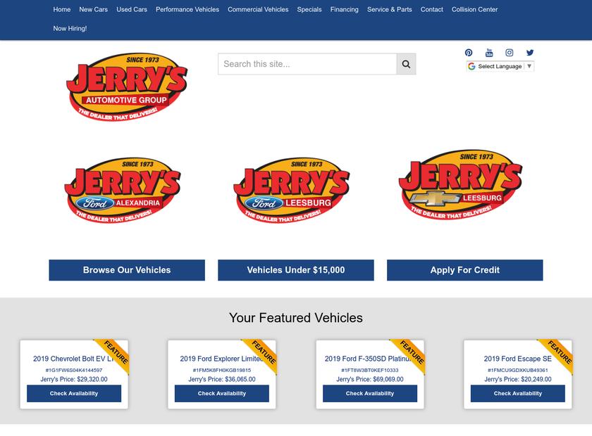 Jerry's Automotive Group homepage screenshot