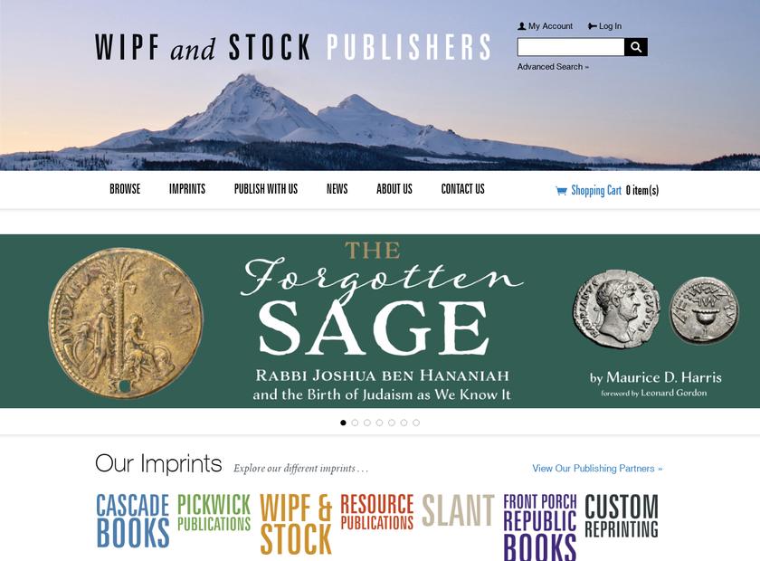 Wipf & Stock Publishers homepage screenshot