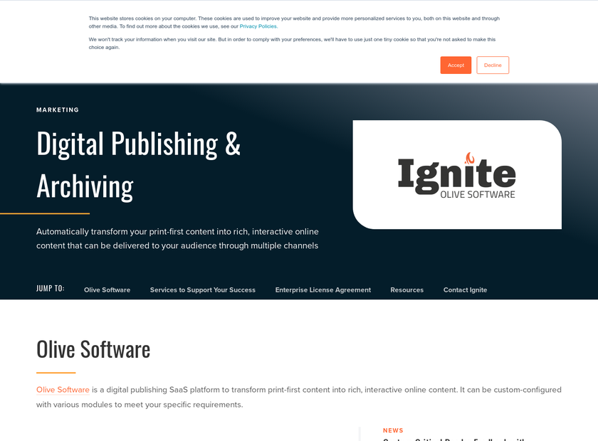 Olive Software Inc homepage screenshot