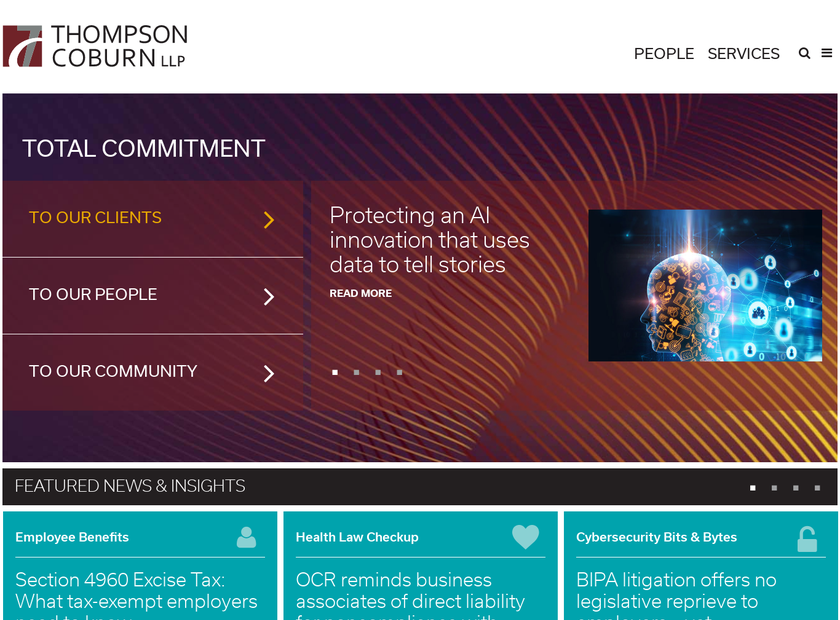 Thompson Coburn LLP homepage screenshot