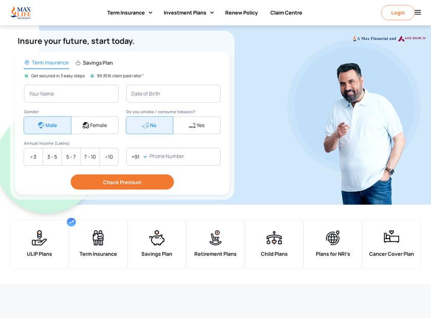 Max Life Insurance Company Limited homepage screenshot