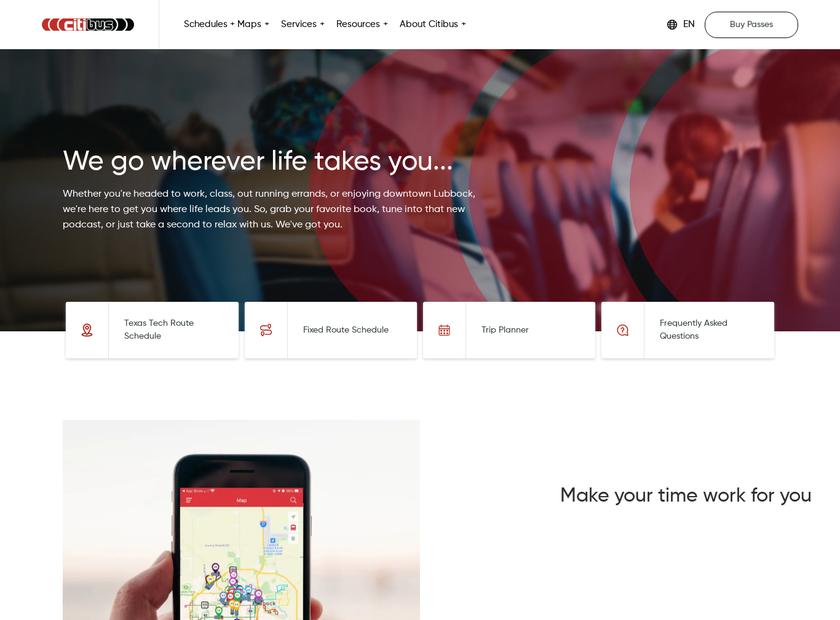 CitiBus homepage screenshot
