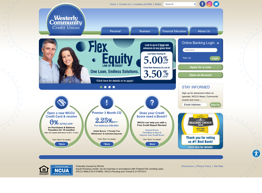 Westerly Community Credit Union homepage screenshot