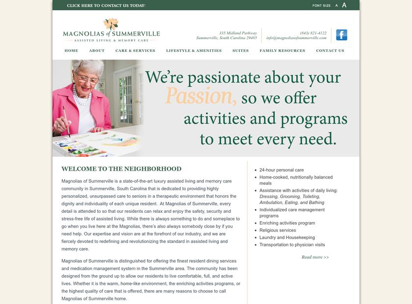 Magnolias homepage screenshot