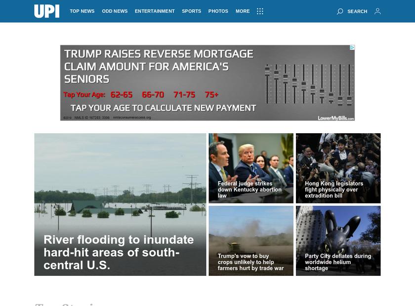 United Press International Inc homepage screenshot