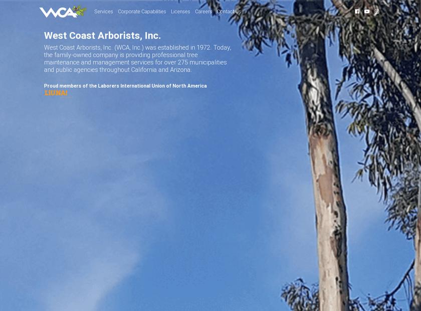 West Coast Arborists Inc homepage screenshot