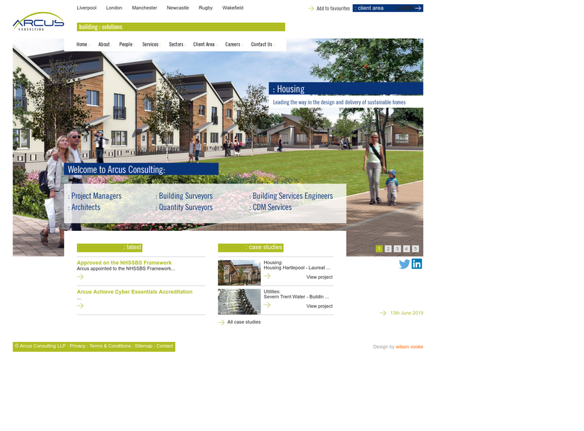 Arcus Consulting LLP homepage screenshot