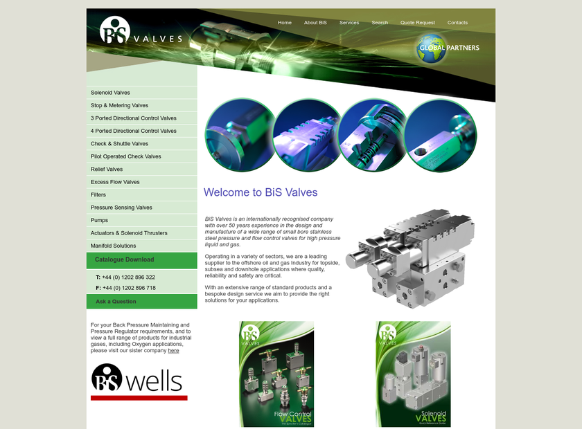 BiS Valves Ltd homepage screenshot