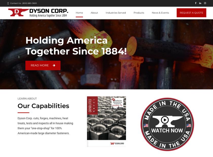 The Dyson Corporation homepage screenshot
