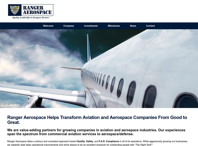 Ranger Aerospace LLC homepage screenshot