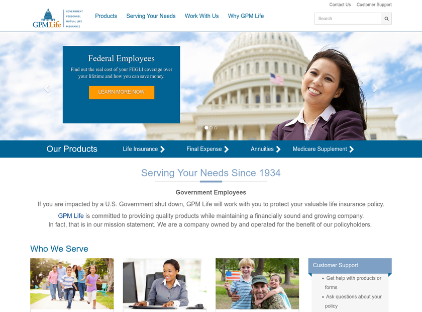 Government Personnel Mutual Life Insurance Company homepage screenshot