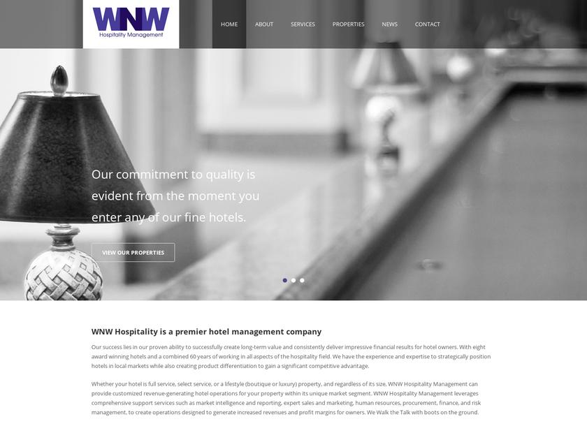 WNW Hospitality homepage screenshot