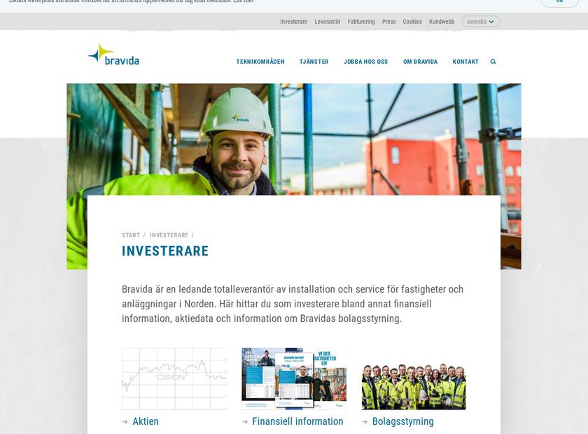 bravida holding ab homepage screenshot