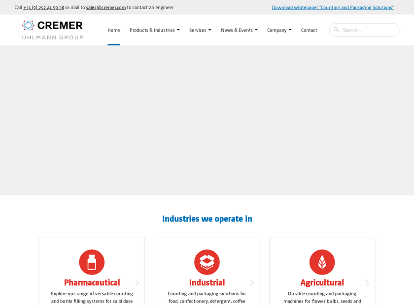 Cremer Speciaalmachines B.V. homepage screenshot