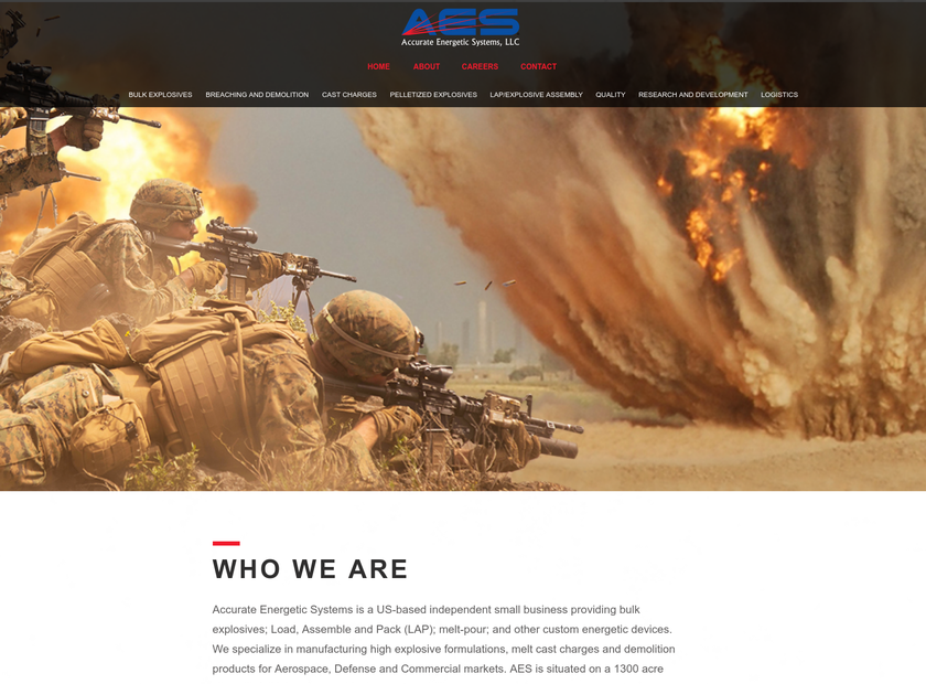 Accurate Energetic Systems, LLC homepage screenshot