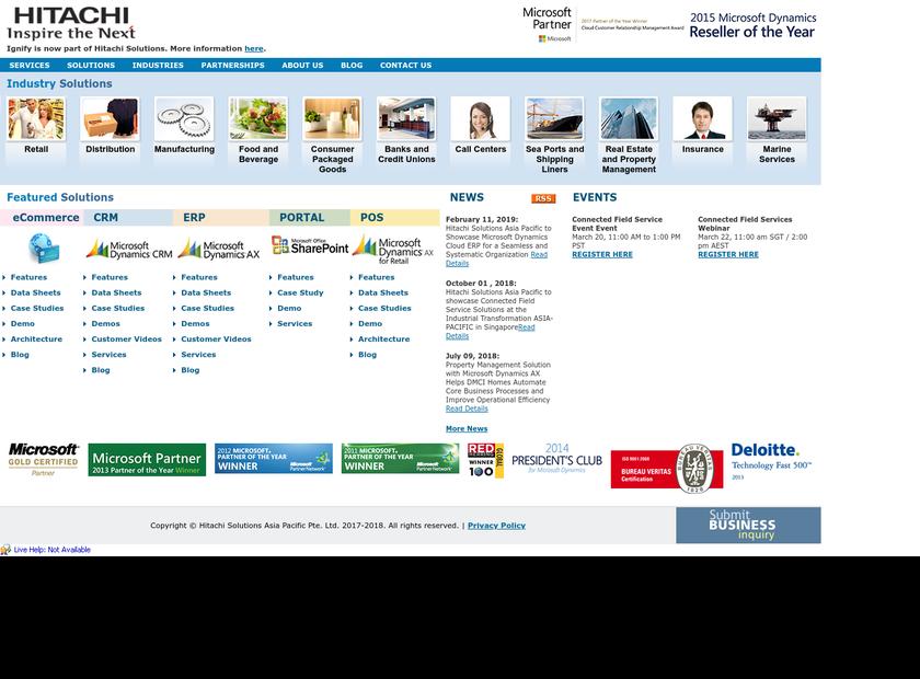 Ignify Inc homepage screenshot