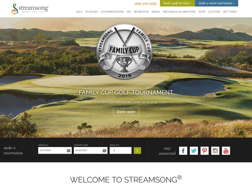 Streamsong Resort homepage screenshot