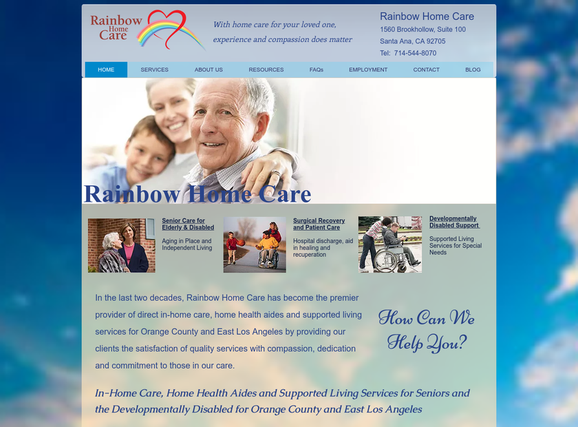 Rainbow Home Care Services Inc homepage screenshot