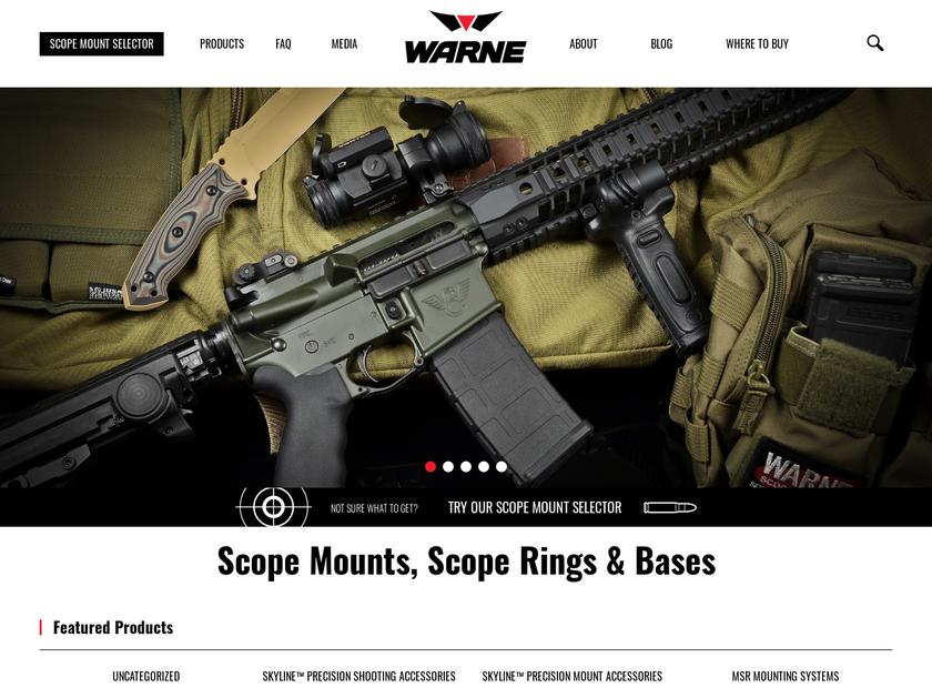 Warne Scope Mounts homepage screenshot